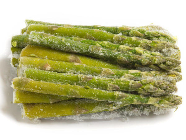 pile of frozen asparagus stuck together